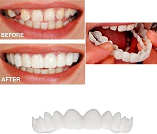 [Ship from US] 2Pcs Braces Cosmetic Snap On Temporary Perfect Smile Comfort Fit Flex Teeth Veneers - Denture for Top and Bottom Teeth to Make White Tooth Beautiful Neat