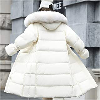 Down Jacket Large Fur Collar Down Jacket Women's Long Section Thick Over The Knee Korean Version of The Loose White Duck (Color : White, Size : M)