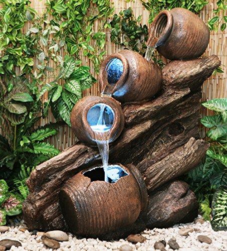 Primrose Fuente Cántaros de Agua sobre Madera - Luces LED - Altura 80cm