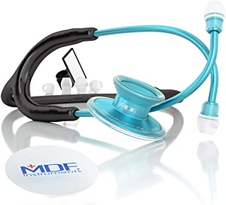 MDF Acoustica Deluxe Lightweight Dual Head Stethoscope - Free-Parts-for-Life & Lifetime Warranty - Aqua and Black (MDF747X...