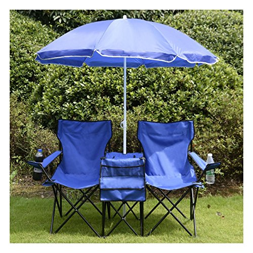 COSTWAY Portable Folding Picnic Double Chair W/Umbrella Table Cooler Beach...