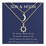 Sun and Moon Necklace Matching Best Friend Friendship BFF Sister Necklaces for 2 Best Friend Friendship Jewelry Gifts for 2 Teen Girls Women Sisters Birthday