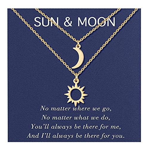 UNGENT THEM Collares de sol y luna para mejor amiga de la amistad, collares pedantes, regalo para mujeres y adolescentes dorado