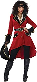 Womens High Seas Heroine Sexy Pirate Costume Red