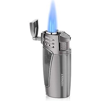 Gas Feuerzeuge, Zigarren Sturmfeuerzeug 3 Jet Flammen Nachfüllbar Outdoor Lighter mit Zigarrenschneider, Geschenkbox für Freunde unde Familie
