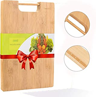 JASZMER Preminum Bamboo Cutting Board, Natural Wood Chopping Serving Board Multi-Size Cutting Board with Handle, 13.4x9.45x0.71 inch