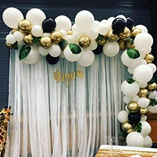 100pcs White Gold Black Balloon Garland & Arch Kit-100pcs Latex Balloons, 16 Feets Arch Balloon Strip Tape,Glue Dots with Tying Tool for Birthday Baby Shower Wedding Bridal Shower Bachelorette Party