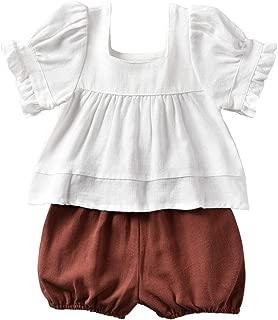 Infant Toddler Baby Girls Shorts Outfits Set Cotton Linen Shirt Top +Short Pants Bottoms Summer Clothes