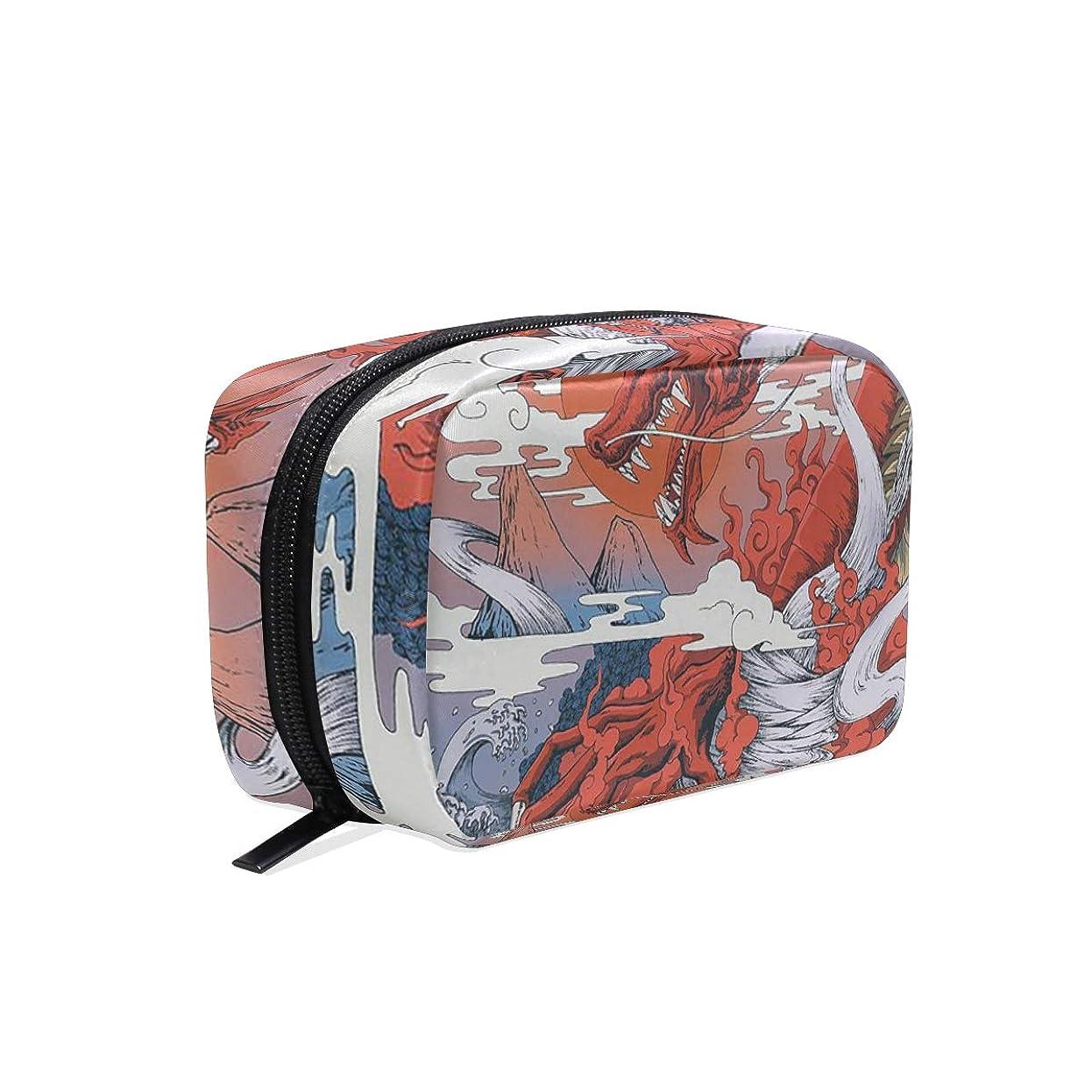 破壊的な識別食欲竜 浮世絵 化粧ポーチ メイクポーチ 機能的 大容量 化粧品収納 小物入れ 普段使い 出張 旅行 メイク ブラシ バッグ 化粧バッグ