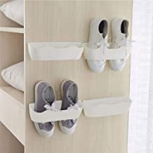 Yocice Wall Mounted Shoes Rack 4pcs with 12pcs Sticky Hanging Strips, Plastic Shoes Holder Storage Organizer,Door Shoe Hangers -White,SM02