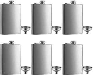 6 Pcs 8 oz Hip Stainless Steel Flask & Funnel Set by QLL, Easy Pour Funnel is..