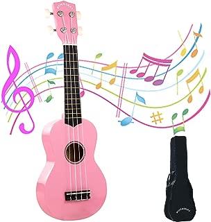 POMAIKAI Ukulele Wood Ukuleles for Beginner Soprano Ukulele Starter Kid Guitar Hawaii Guitar 21 Inch Pink Rainbow Kids Uke with Gig Bag (Pink)
