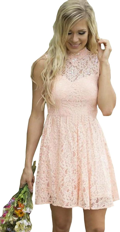 Weiterstar Women' High Neck Beads Sleeveless Lace Applique ALine Hollow Back Bridesmaid Dress