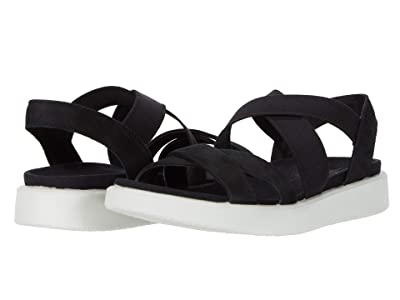 ECCO Flowt Elastic Sandal (Black Cow Nubuck) Women