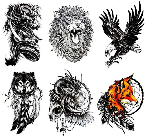Gilded Girl Large Temporary Tattoos(Set of 6) Spirit Animals, Dragon/Fox/Wolf/Lion/Eagle/Skull/Tribal Waterproof Body Art Animal Tattoos
