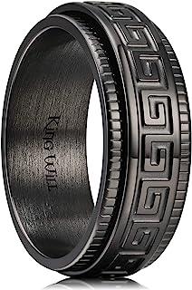 King Will 6mm 7mm 8mm Black/Silver Spinner Stainless Steel Ring Fidget Ring Anxiety Ring for Men Greek Key/Cross/Moon Sta...