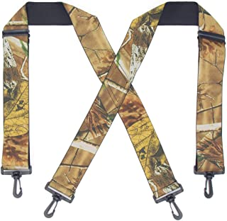 "Trucker Side Clip Suspenders X-back for Hunting/Long Haul Truckers/Policemen/Bikers/Contractors,2"" Wide Adjustable Braces"
