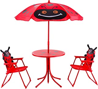 HONEY JOY Kids Picnic Table and Chair Set, 4 PCS Dining Table and 2 Folding Chairs w/Umbrella, Height Adjustable, Children Indoor Outdoor Furniture Set for Garden Balcony Decoration, Red Ladybug