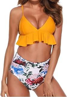 C.C-US Women Two Piece Padded Swimsuit Bathing Suit High-Waisted Booty Shorts Ruffled Flowers Swimwear Bikini