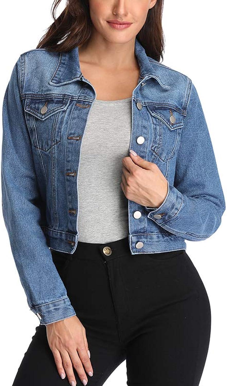 Andy&natalie Women's Crop Denim Jacket,Jean Jacket w 2 Side Pockets