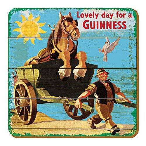 McLaughlin's Irish Shop Guinness - Sottobicchiere in legno Motivo: Horse on a Carriage