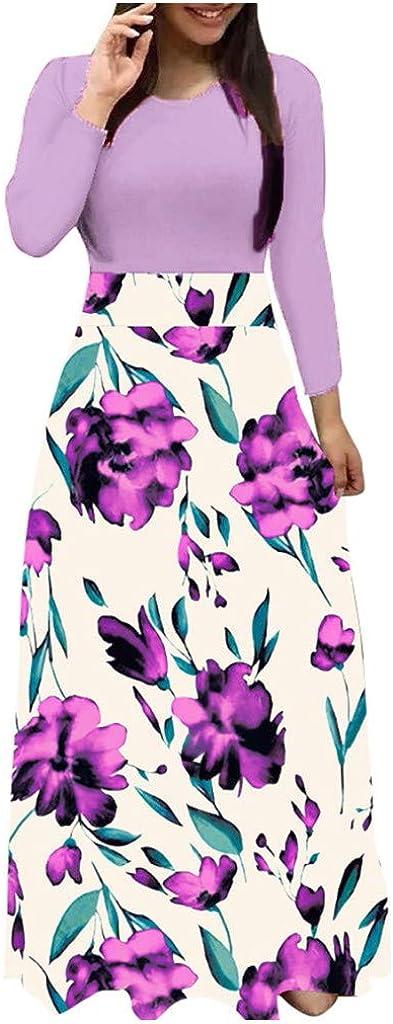 KYLEON Women's Elegant Long Sleeve Maxi Dress Floral Loose Casual Tunics T Shirt Dresses Summer Beach Party Long Sun Dress