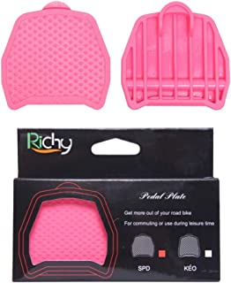 wushang Richy SPD-SL Clipless Pedal Convert to Universal Platform Pedal Adapters Clipless Platform Adapter Pedal Plate Cleats SPD for Shimano/Willgo, KE0 for Look (for SPD) (Pink, SPD)
