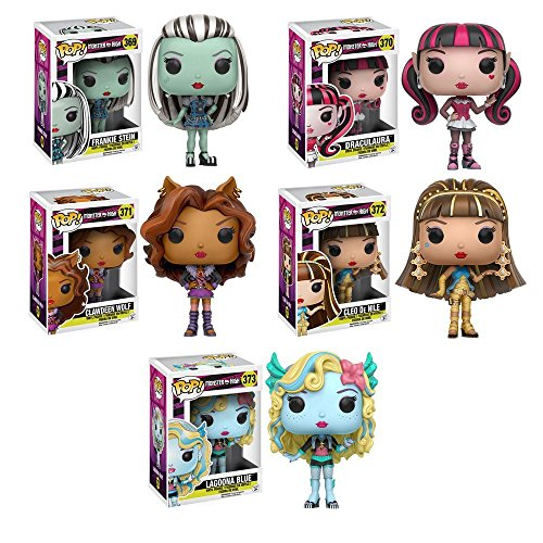 Pop!: Monster High Frankie Stein, Clawdeen Wolf, Draculaura, Cleo de Nile and Lagoona Blue Vinyl Figures! Set of 5