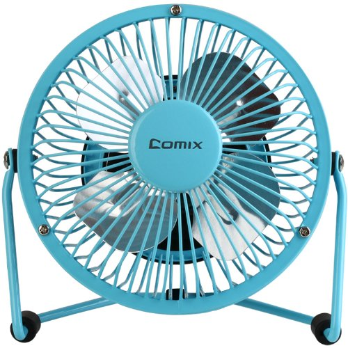 "Comix Mini Personal Desktop Fan, 4"", Metal Design, Quiet Operation, Air Radiator for Laptop,USB Cable Powered, Blue (L602)"