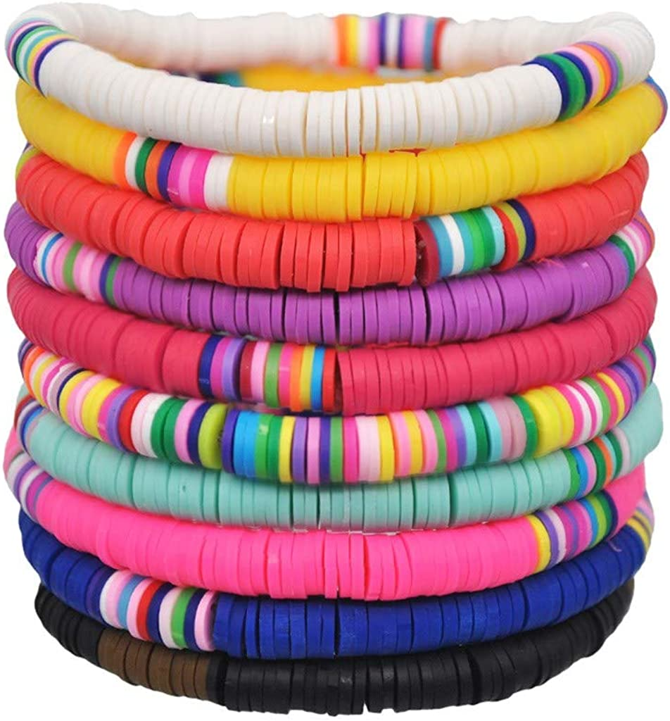 Dianli 10PC Handmade Anklet Bracelet Set For Women Girls Pack Summer Beach Boho Colorful Elastic Adjustable Foot Stack Rainbow Pottery Disc Bead Surfer Stretch Jewelry Gift