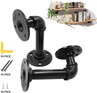 Industrial Pipe Shelf Brackets, 2 PCS Heavy Duty Black Metal Floating Shelf Brackets with Screws for Rustic Farmhouse Shelving, DIY Vintage Home Decor (3.1 x 5.9 Inch)