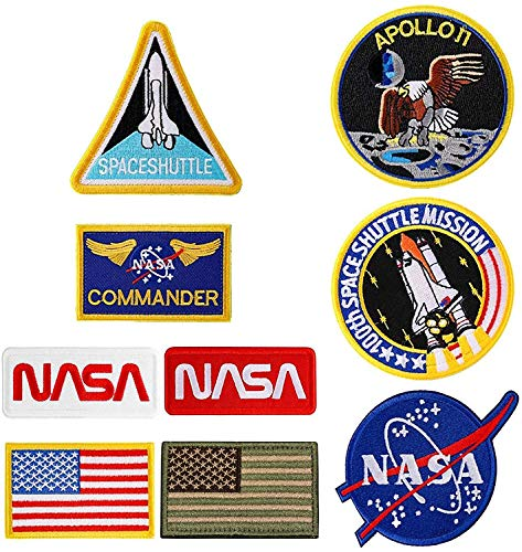 9Pcs NASA Patches ,Embroidered Iron On or Sew On Space Patches,Apoll Patches,Space Shuttle Patches,US Flag Patch (Iron on/Heat Transfer Backing)