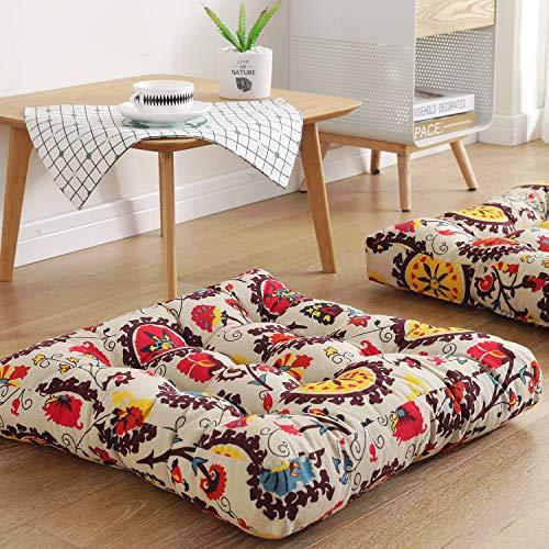 "Boho Square Floor Seat Pillows Cushions 22"" x 22"", Soft Cotton Linen Bohemian Yoga Mandala Meditation Pouf Tatami Floor Pillow Cushion for Living Room Adults & Kids Casual Reading Nooks,Flowers Beige"