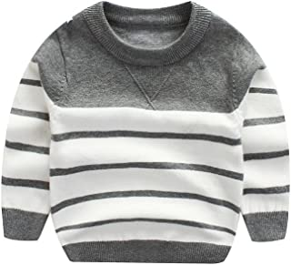 Kids Boys Cable Knit Sweater Long Sleeve,Round Collar Striped Sweatshirt Baby Cotton Pullover Sweater Spring 1-5T