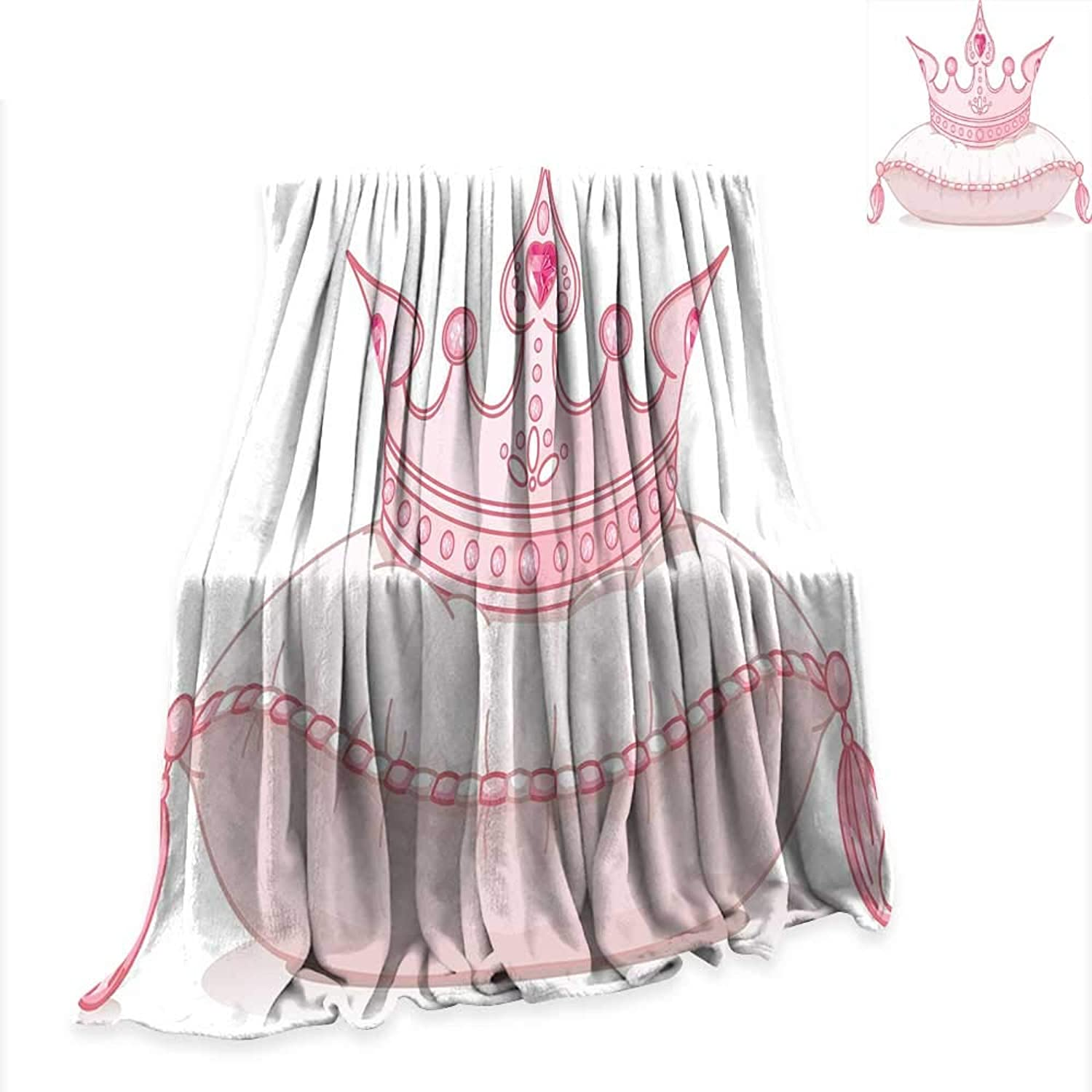 RenteriaDecor Beach Blanket Queen,Cartoon Style Cute Pink Princess Crown on Pillow Fairy Tail Fantasy Girlish Fashion,Pale Pink Comfortable and Warm W54 x L72 inch