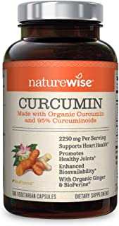 NatureWise Curcumin Turmeric 2250mg (2 Month Supply) | 95% Curcuminoids & BioPerine Black Pepper Extract | Advanced Absorption for Cardiovascular Health Joint Support | Gluten Free Non-GMO [180 Count]