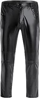 YiZYiF Men's PVC Leather Moto Jeans Tight Pants Straight Long Leggings Trousers