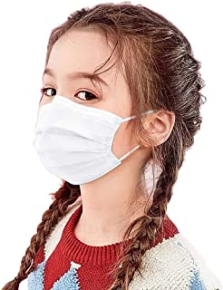 BeAcien 10PCS/20PCS/50PCS/100PCS Disposable Face Mask for Kids Non-woven 3Ply Solid Color Simple Half Face Cover Mask (Whi...
