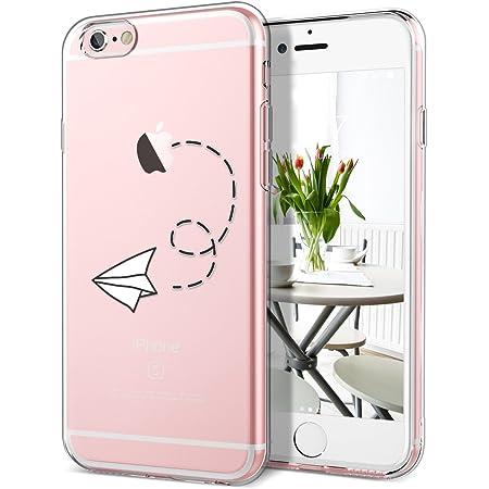 GrandEver Coque iPhone 6s / iPhone 6 Silicone Transparente avec Motif ( Pomme ) Apple Créatif Design Souple TPU Gel Bumper Kawaii Once Piece Fine ...