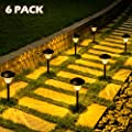 Solpex 6 Pack Solar Pathway Lights, Warm White Solar Lights Outdoor, Waterproof Glass Metal Automatic Solar Path Lights for Path, Garden, Yard and Walkway
