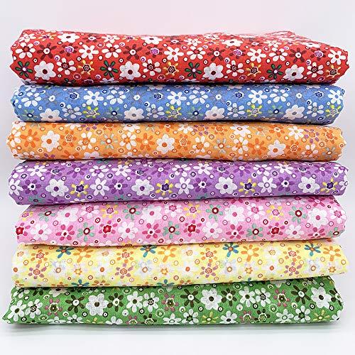 7Pcs 20' x 20' Cotton Fabric DIY Making Supplies Quilting Patchwork Fabric Fat Quarter Bundles DIY for Quilting Patchwork Cushions Cotton Fabric for Patchwork (20' x 20', Color Mixing)