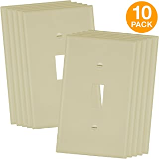 Enerlites 8811-I-10PCS Toggle Wall Plate, Standard Size 1-Gang, Polycarbonate Thermoplastic, Ivory (10 Pack)