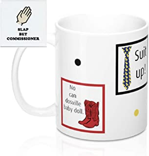 Double - Sided HIMYM Coffee Mug, 11 oz. Ceramic How I Met Your Mother Gift Mug - Yellow Umbrella, Blue French Horn, Barney's Ducky Tie Suit up and Ted's Red Cowboy Boots