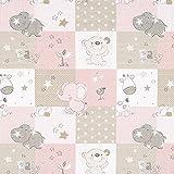 Cretonne Babyzoo – rosa/beige — Meterware ab 0,5m —