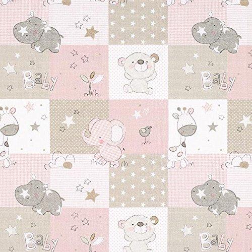 Cretonne Babyzoo – rosa/beige — Meterware ab 0,5m — Oeko-Tex Standard 100 Produktklasse I — zum Nähen von Baby Deko, Kinder und Bettwäsche