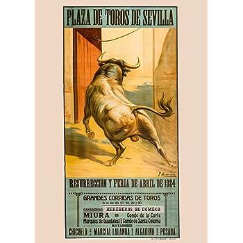 Vintage de viaje ESPAÑA para Sevilla El 1924 Feria en la plaza de toros de Sevilla, 250 gsm ART tarjeta A3 reproducción de póster: Amazon.es: Hogar
