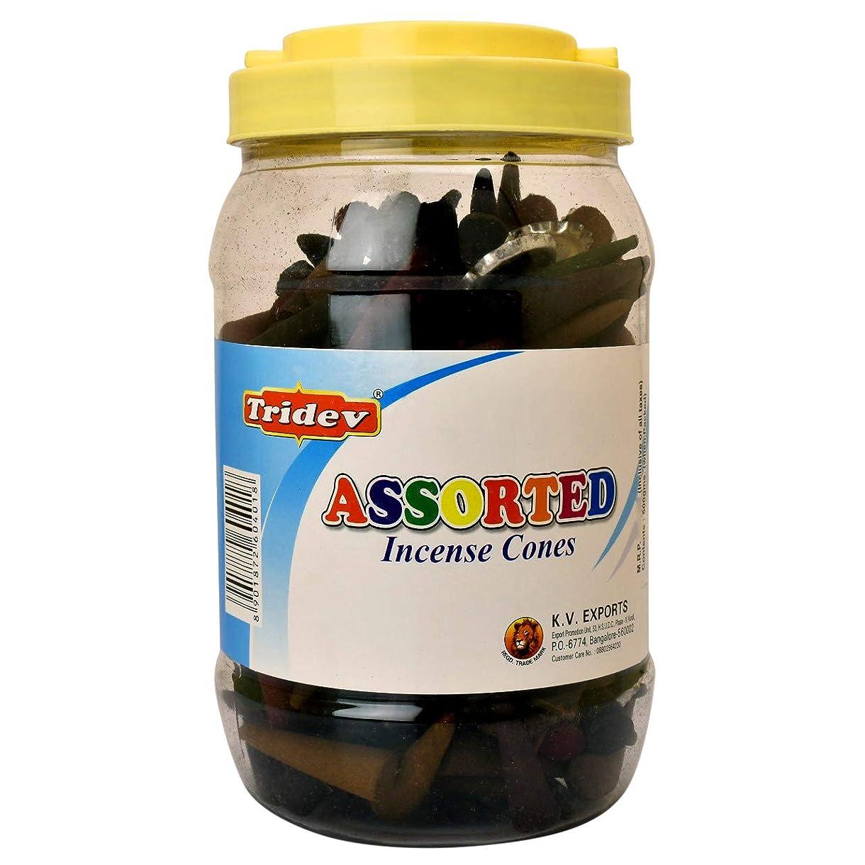 ねばねば浅いめ言葉Tridev Assorted Incense Cones Jar 500グラムパック