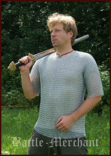 Battle Merchant Camicia di Maglie, Maniche Corte, 9mm ID, zincato, Gr. L Medioevo Vichingo Larp