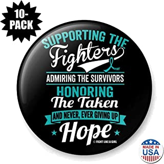 Fight Like a Girl Supporting Admiring Honoring Round Buttons/Pins/Badges for Cancer/Disease Awareness and Support, 10-Pack (Assorted Colors)