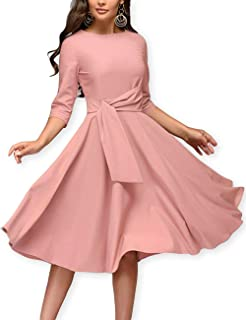 Women Elegance Pleated Audrey Hepburn Style Round Neck 3/4 Sleeve Swing Midi Dress
